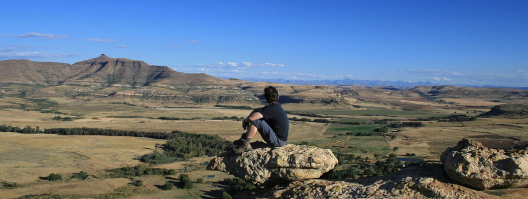 A client on a Lesotho Tours watching the horizon
